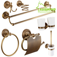 Antique European Bronze Bathroom Accessories Hair Dryer Rack Bathroom Hardware Tissue Box/ Towel Bar/ Cup shelf/