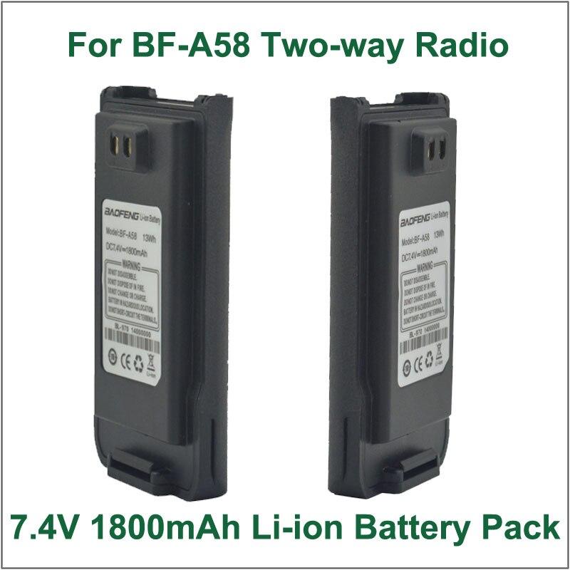 Batterie Talkie Walkie BAOFENG bf - a58 DC7.2V 1800 mAh li - ion batterie pour BAOFENG bf - a58 IP57 étanche Portable Two - way Radio