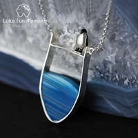 Lotus Fun Moment Real 925 Sterling Silver Natural Stone Handmade Fashion Jewelry Lovely Penguin Necklace with Pendant for Women