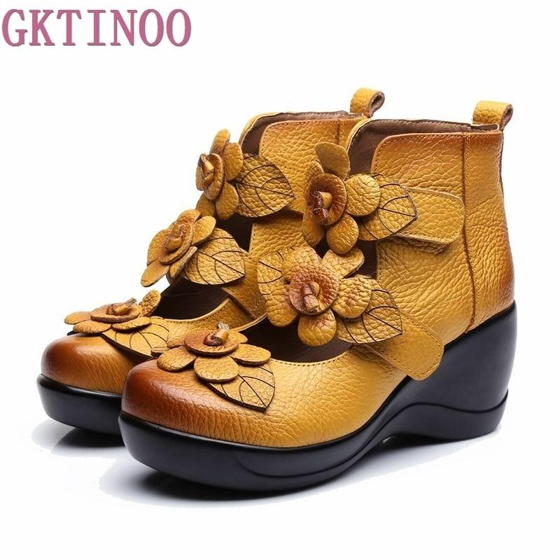 2019 pompes à plate forme haute compensée pour femmes marque en cuir véritable talons hauts plate forme bout rond pompes chaussures pour femmes Zapatos Mujer-in Escarpins femme from Chaussures    1