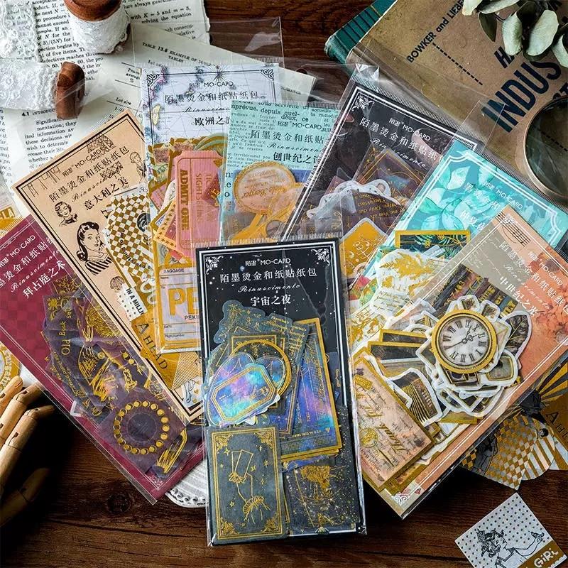 60pcs/Pack Vintage Gold Renaissance Sticker Scrapbooking Pack Creative Diy Bullet Journal Decorative Adhesive Label Stationery