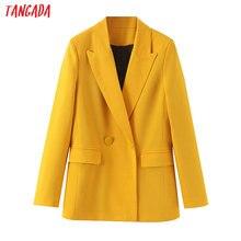 Tangada women yellow suit blazer jacket designer 2019 new ar