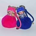 2017 Nova Popular Bonito Bonecas do Embutimento de Cristal 12 Cor Monchichi KeyChain Anel Chave Do Carro Chaveiro Acessórios do Saco Das Mulheres De Pele Porte