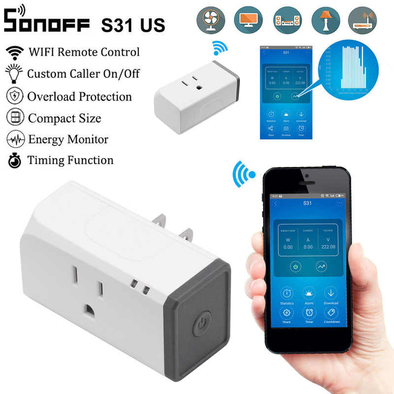 Sonoff S31 inteligentna wtyczka T1 1/2 Gang WiFi RF typu Smart gniazdo ścienne dotykowy przełącznik oświetlenia pracy z Alexa dla inteligentnych strona główna Google inteligentne domu