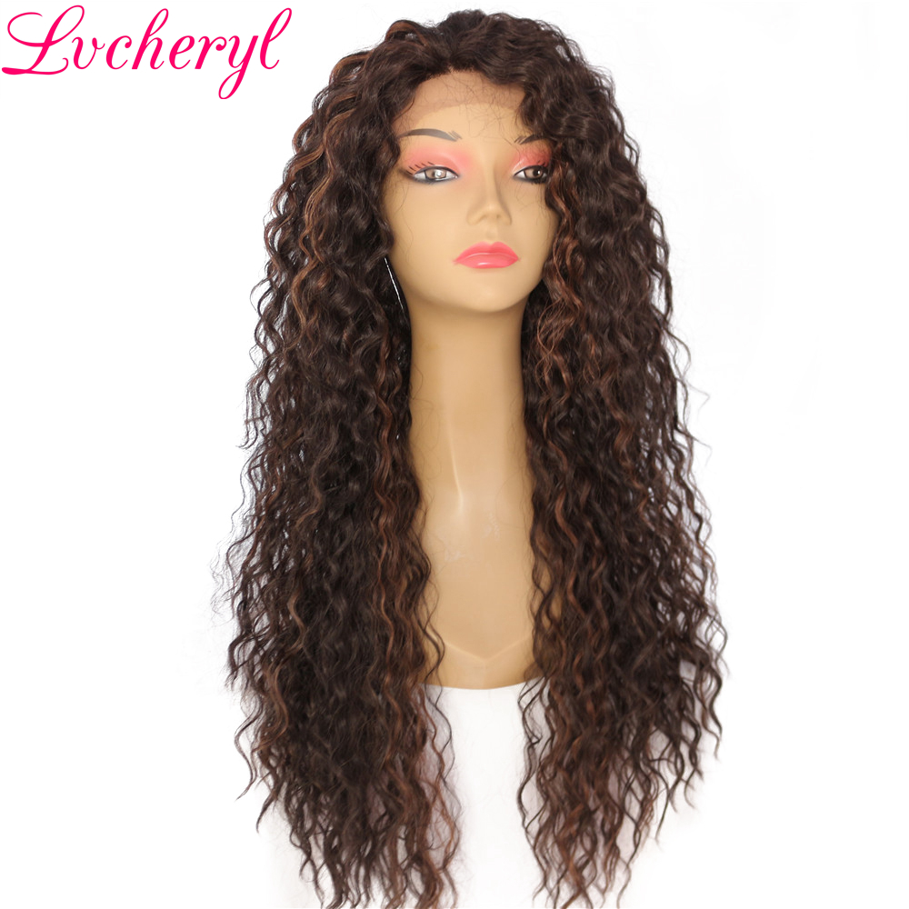 Lvcheryl Hand Tied Kinky Curly Type Soft Ombre Brown Highlight Heat Resistant Synthetic Lace Front Wigs