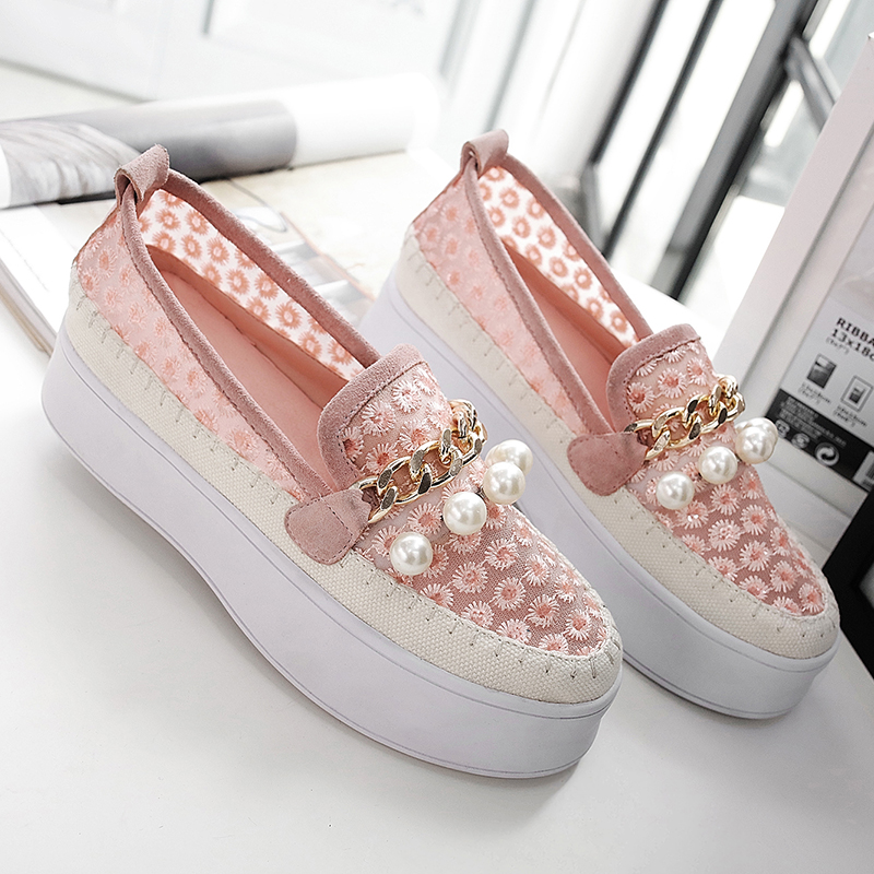 Wholesale women shoes flats 2017 spring new arrival genuine leather flat platform loafers pearls casual round toe ladies shoes flat shoes women pu leather women s loafers 2016 spring summer new ladies shoes flats womens mocassin plus size jan6