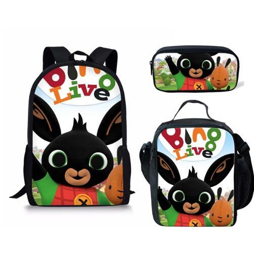 Mochila Backpack For Boys Girls Cartoon Bing Bunny Orthopedic Large Travel Laptop Bagpack Set Shoulder Bag Schoolbag