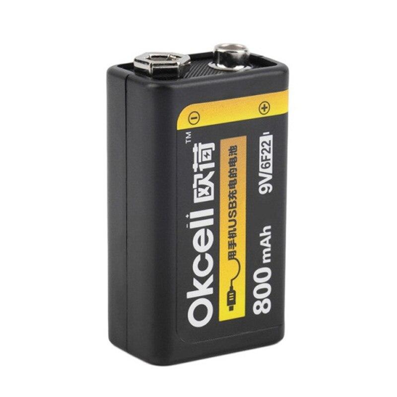 OKcell 9 V 800 mAh USB Ricaricabile Lipo Battery per RC Helicopter Modello Microfono