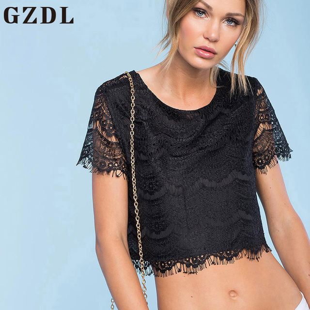 Gzdl Sexy Black Crochet Women Crop Top Style Hollow Out Backless