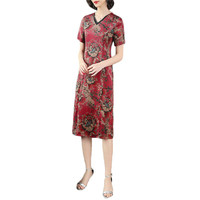 Mid aged Mom Dress Red L 4XL Plus Size Summer Short Sleeve Dresses 2019 New Print Vintage V Neck Slim Silk Chic Sexy Dress CX828