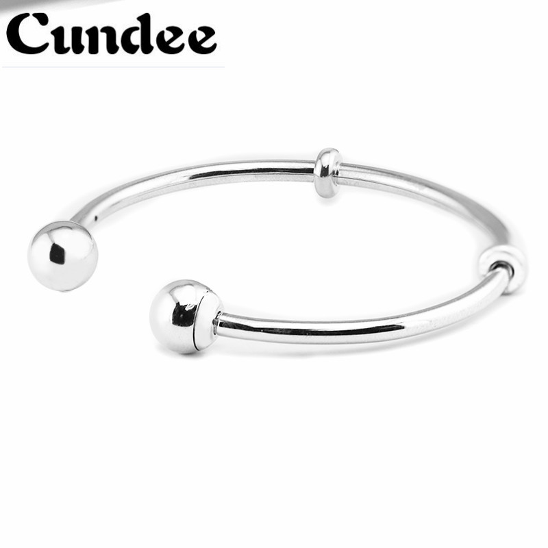Famous Brand Logo Open Bangles 2017 summer New 925 Sterling Silver Bangle Women Fashion Jewelry