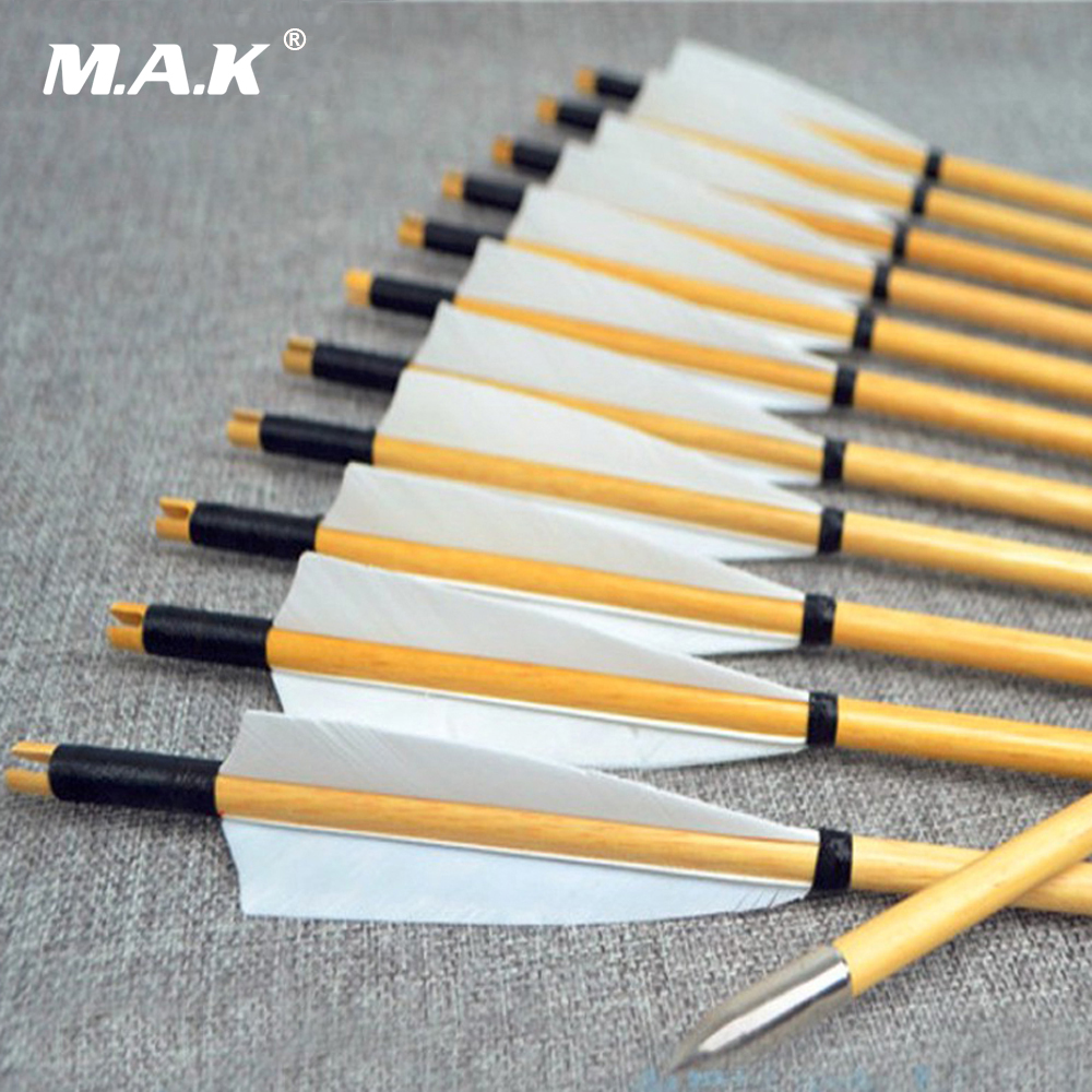 6/12/24pcs Natural Wooden Arrows 30inch With White Turkey Feather And Iron Arrowhead For 25-50lbs Bows For Archery Shooting H