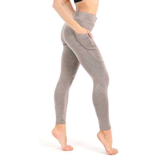 ef4f443b82eeb ... Для женщин Push Up леггинсы для Высокая талия легинсы для тренировки и  фитнеса с карманом плюс
