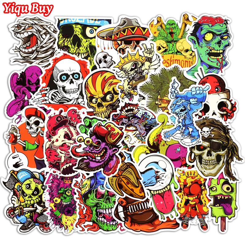 New 50 Pcs Mixed Funny Horror Stickers For Laptop Phone Skateboard Luggage Car Styling Graffiti Decals Cool DIY Sticker