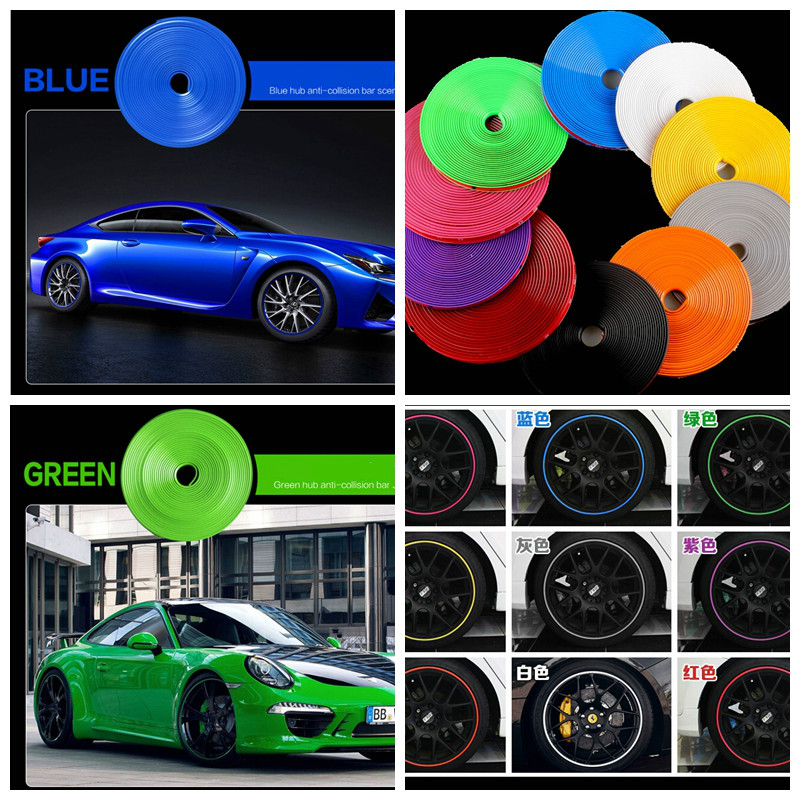 8M Car Wheel Hub Tire Sticker Car Decorative Styling Strip Wheel/Rim/Tire Protection Covers Accessories for volkswage VW golf 4 ...