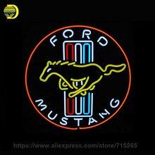 Letrero de neón de Coches y Motocicletas Ford Mustang Signo Tubo De Vidrio Letreros de neón Luces ARTE para Exhibición de la Tienda de Lámparas de Neón Signo de Encargo