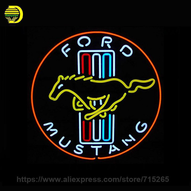 neon sign for cars and motorcycles ford mustang sign glass tube neon signs art lights for