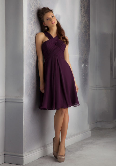72e36d716f53 Cheap Off Shoulder Wedding Party Dress Purple Chiffon Plum Knee Length  Bridesmaid Dresses Short 2016 Maid Of Honor Gowns B180