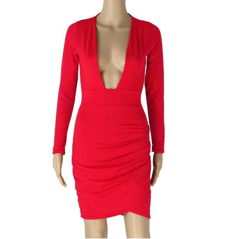 Новое поступление, осенне-зимнее женское платье с длинными рукавами, сексуальное платье с глубоким v-образным вырезом, облегающее вечернее платье
