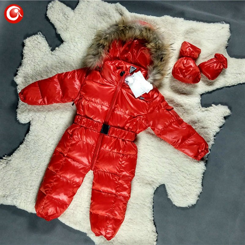 6M-4T Baby Girls White  Duck Winter Down Coat +Down Gloves Clothes Kid Boys Ski Snow Thick Hooded Warm Jacket Clothing Snowsuit (3)