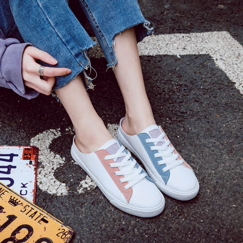 2018 summer new fashion women shoes casual leather shallow simple women casual flats color slippers sneakers breathable