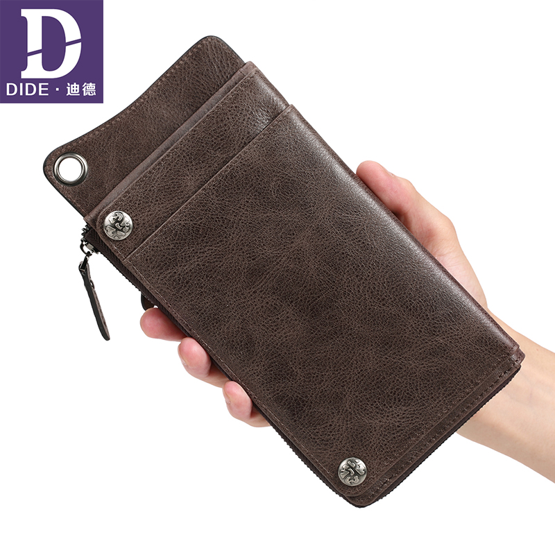 DIDE Large capacity Clutch Purse 100% Genuine Leather Wallet Men Coin Purses credit card holder Wallet phone bag men pu leather credit card holder billfold wallet purse checkbook clutch