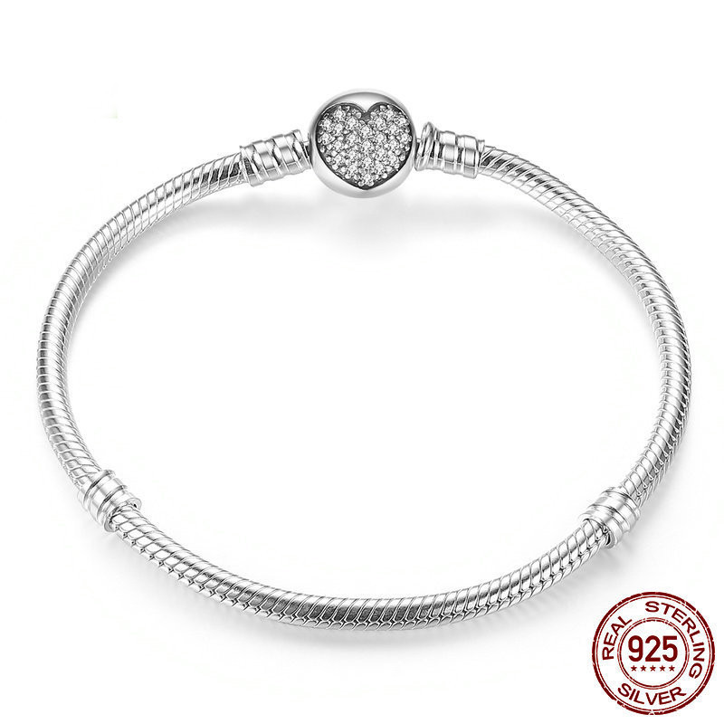 925 Sterling Silver Crystal Love Heart Mesh Bangle Charm Bracelets For Women Girl Fit Bracelet Bangle Clasp Snap Button Jewelry mesh heart patched bralette