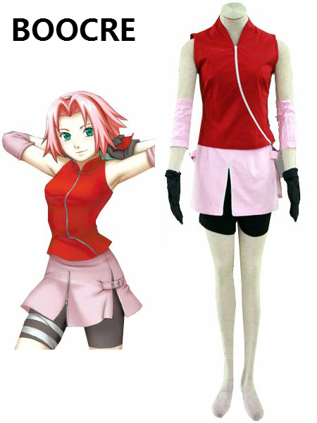 Anime font b Naruto b font font b Cosplay b font Costume Haruno Sakura Halloween Party