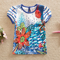 Bandera de 2016 nuevas flores de verano baby & kids algodón novela de moda de impresión cuello redondo Camiseta de manga corta del bebé ropa G6103
