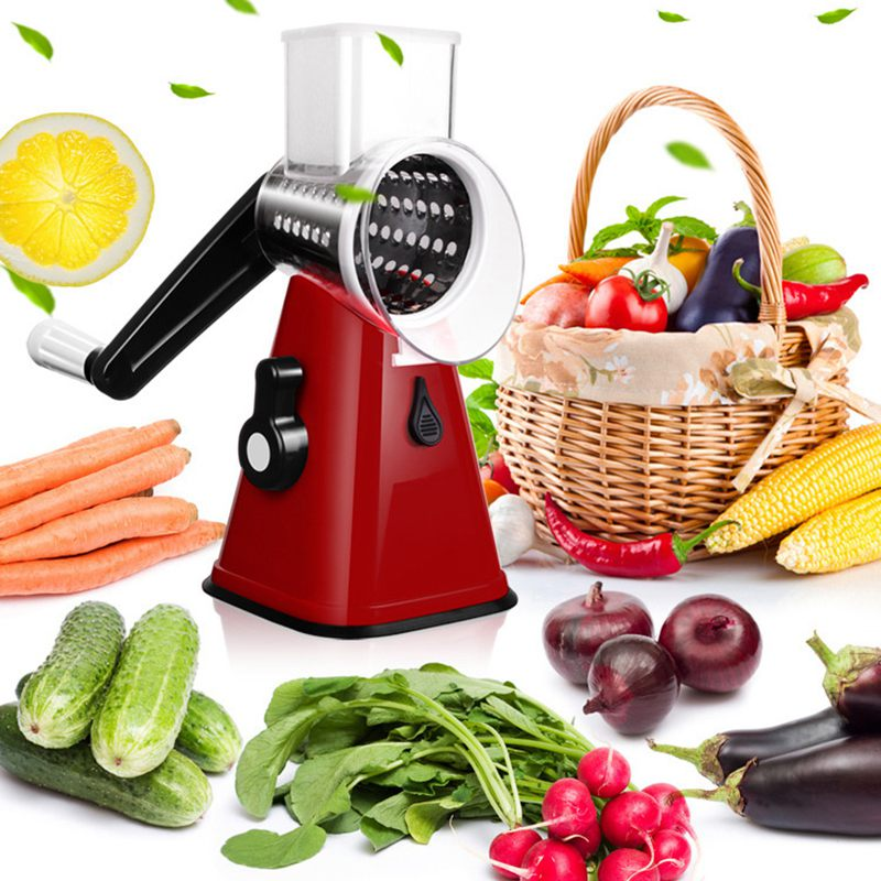Multi-function Food Slicer, Manual Hand Speedy Safe Vegetables Chopper Cutter,with 3 Cylindrical Stainless Steel Blades For Gr