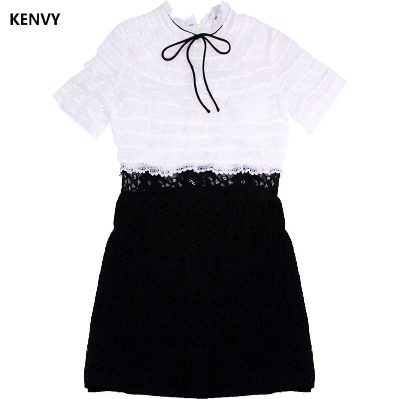 Nouvelle Dentelle Couture Slim Robe Luxe Ajouré À Femmes Mode Marque Kenvy Courtes Haut Manches De Gamme Arc D'été gw8POSq