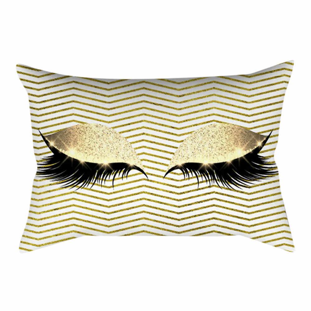 Розовый Золотой ресниц из мягкого бархата Чехлы см для подушек 30x50 см мрамор наволочки спальня подушка для украшения дивана Чехлы # WS