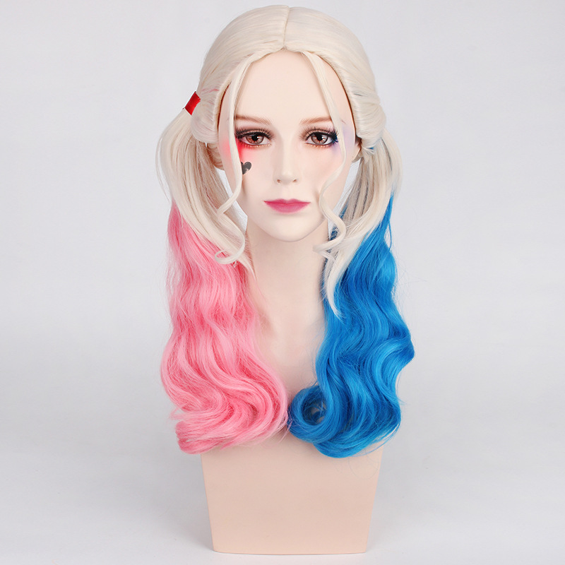 High Quality Suicide Squad Harley Quinn Harleen Quinzel Cosplay Wig Synthetic red blue Hair Halloween Costume Wigs and wig ca