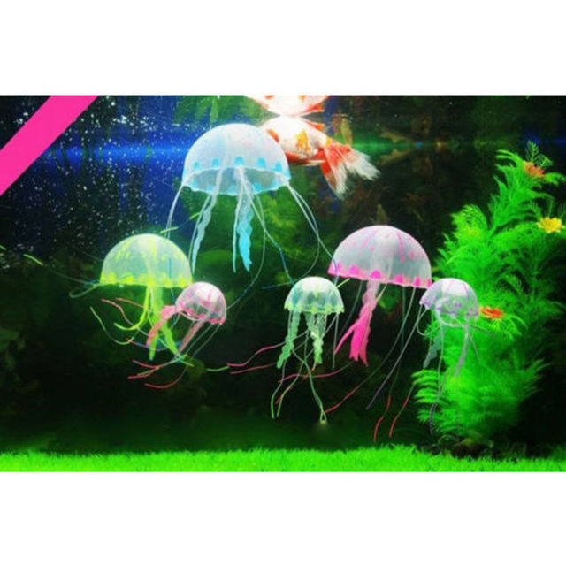 5.5CM Glowing Effect Artificial Jellyfish Fish - Tank Aquarium Decorations  4