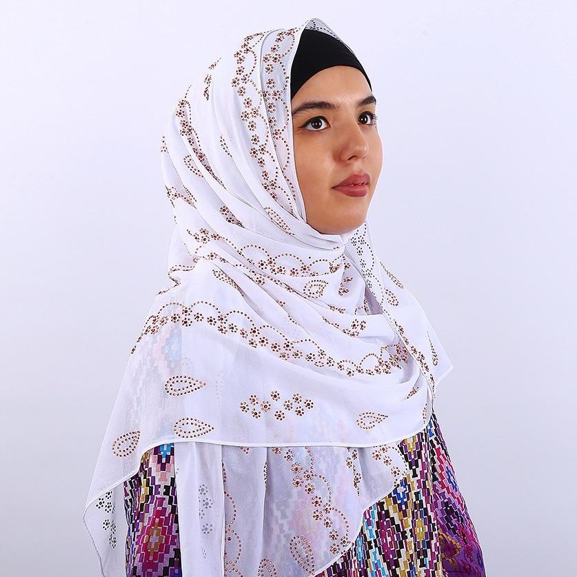 Diamonds Woman Hijab Rhinestone Chiffon Popular Shawls Scarf Headband Solid Color Muslim Hijab Turban 14 Colors Free Shipping