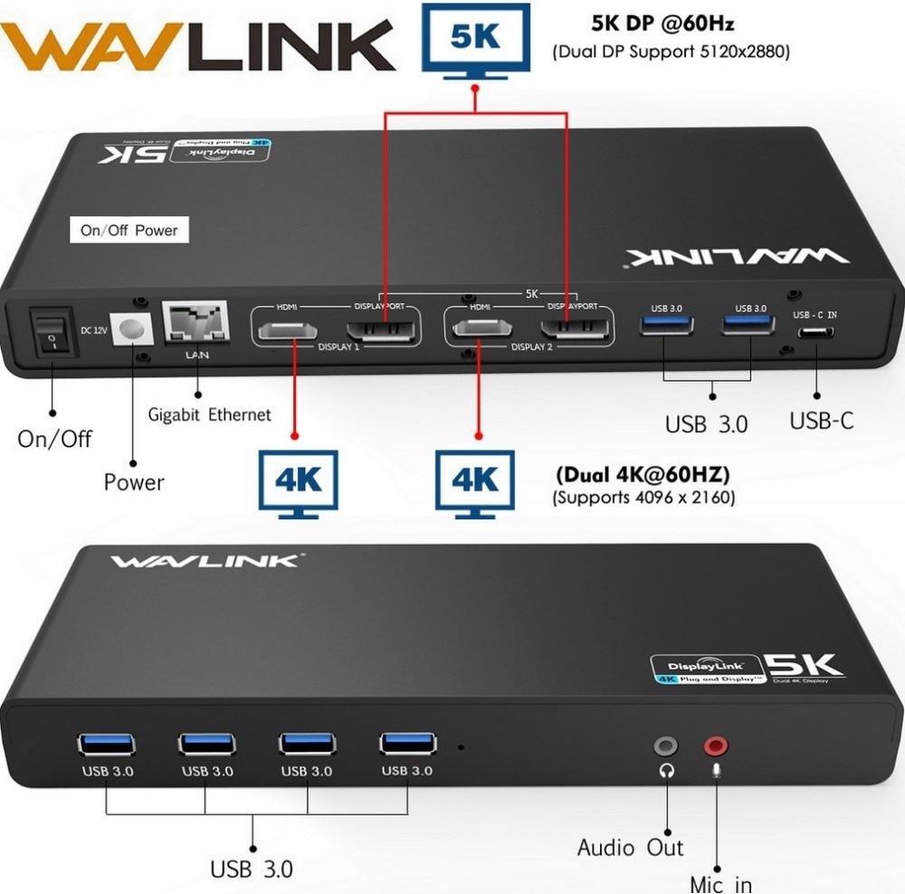 Wavlink USB-C Universal USB 3.0 Docking Station Dual 4 K Doca de Ultra Tipo DP Gen1-C Gigabit Ethernet Estender e Modo de Vídeo Espelho