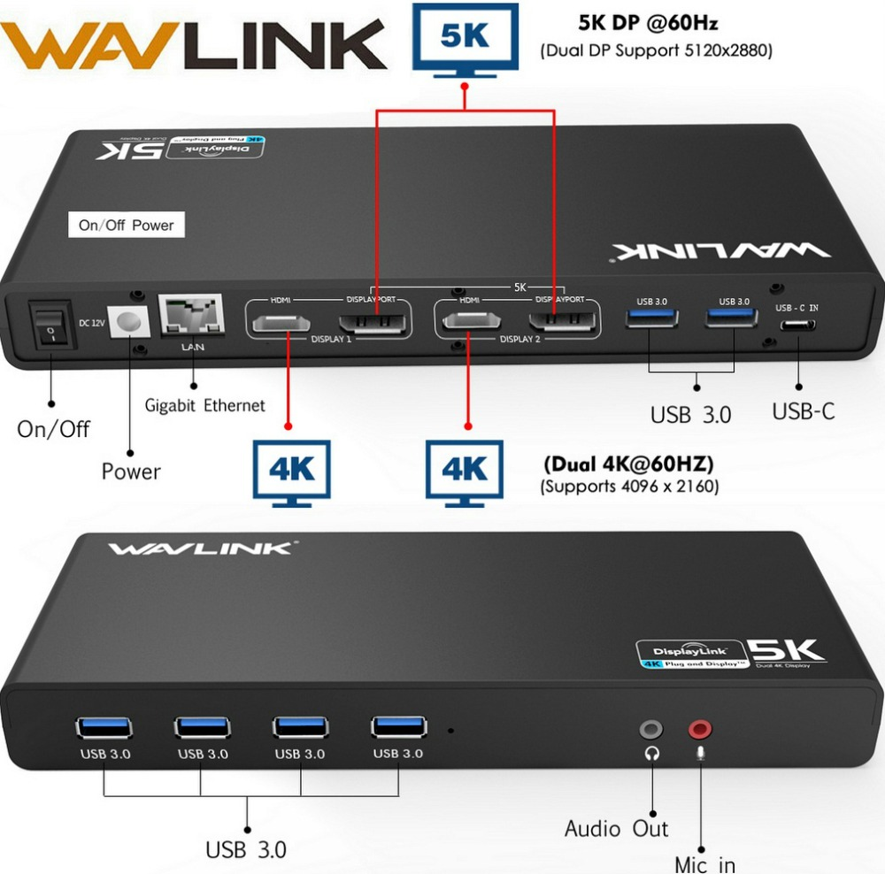 Wavlink Universal USB 3.0 Dockningsstation USB-C Dual 4K Ultra Dock DP Gen1 Type-C Gigabit Ethernet Utöka och Mirror Video Mode