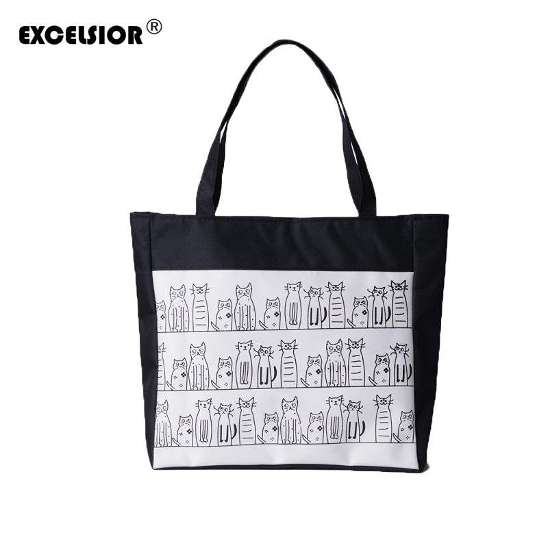 EXCELSIOR Female Canvas Cute Cats Pattern Tote Printing Women Fashion Handbag Canvas Beach Bags For Girls Bolsa Feminina cat bag maoxin cute cat head finger grip metal ring kickstand for smartphones blue cats