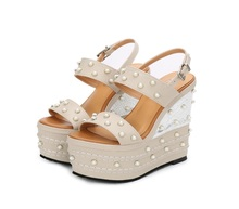 Spring Summer Newest 16cm Heels Sexy Sandal Woman Open Toe Platform Buckle Strap Gladiator Shoe White Pearls Beaded Cutouts Heel 2017 newest handmade crystal beaded wedge slippers open toe butterfly knot platform sandal transparent pvc sandal