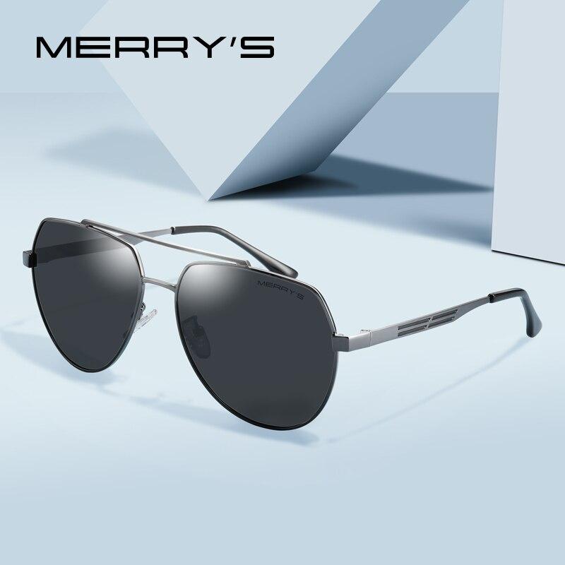 Gafas de sol de piloto clásicas con diseño de Merry para hombre, gafas de sol polarizadas HD con montura para hombre, protección UV400 S'8175