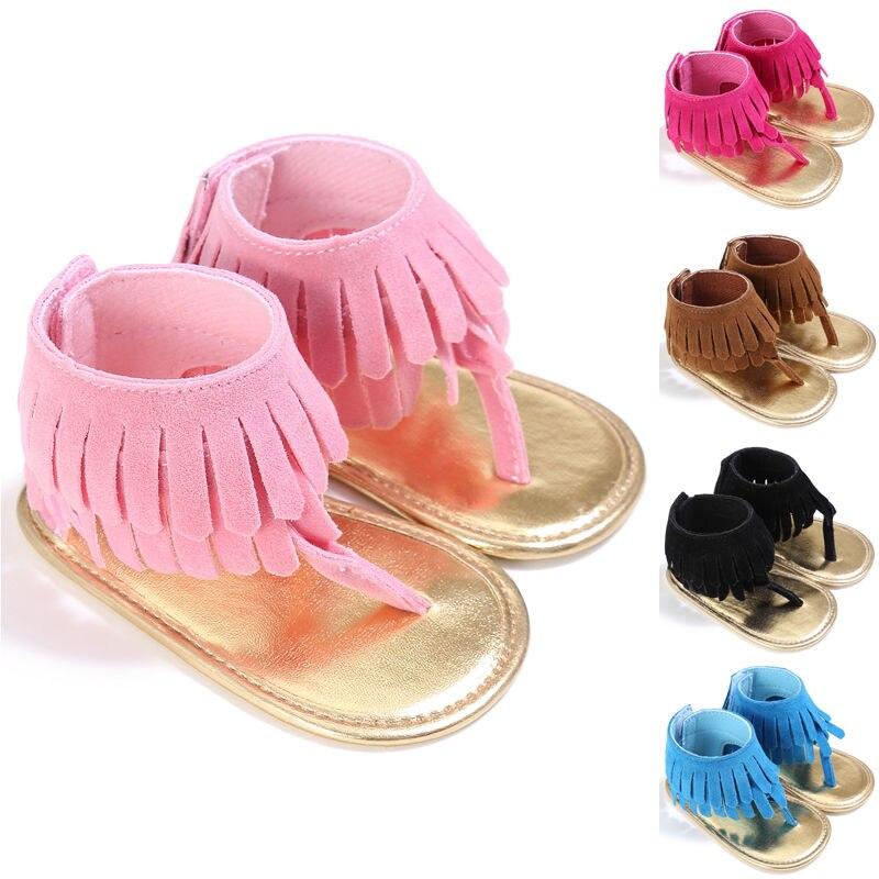 Baby Girls Kids Sandals Tassel Anti-Slip Summer Crib Shoes Soft Sole Prewalkers