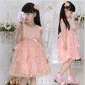 Девушки летом свободного покроя с бантом кружевном платье детская одежда девочек мода платье принцессы 8 - 13 лет девушка розовые одежды детская одежда