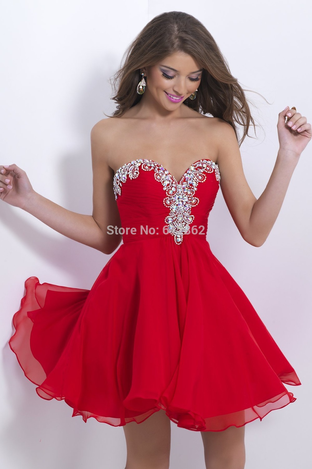 Popular Short Red Strapless Sweetheart Dress-Buy Cheap Short Red ...