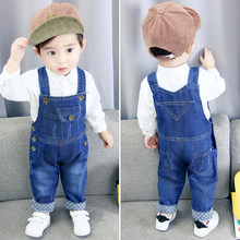 IENENS Toddler Infant Boys Long Pants Denim Overalls Dungarees Kids Baby Boy Jeans Jumpsuit Clothes Clothing Outfits Trousers(China)