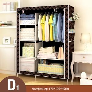 Image 4 - Armario de tela plegable Simple moderno armario tela ropero armario individual de acero armario doble armario de almacenamiento