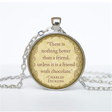 Charles Dickens Quotes Necklace Charles Dickens Quote Pendant Victorian England Jewelry Fashion 27MM Round Pendant Necklace HZ1