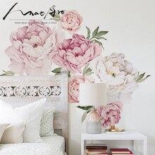 Стикер на стену, цветы пиона, наклейки для домашнего декора, акварельный Декор на стену, художественное украшение для детской комнаты, декор для спальни, домашний стикер