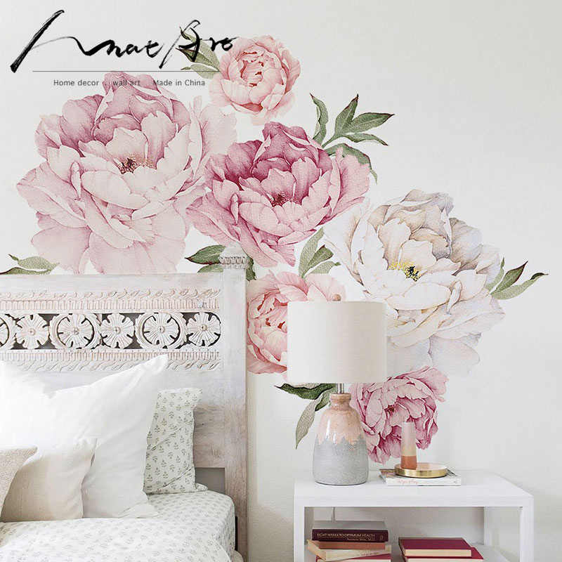 Peony Flowers Wall Sticker for bedroom Modern Nordic home decoration Watercolor flower Wall decor art Living room decoration
