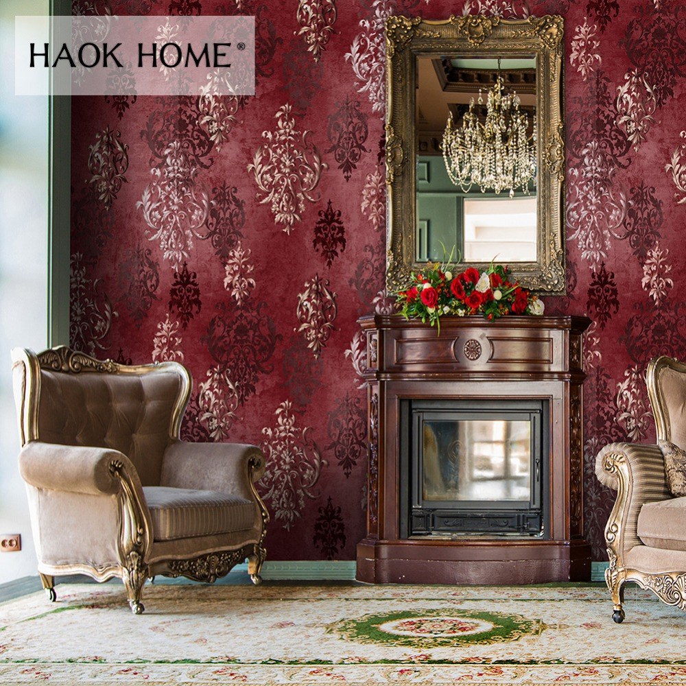HaokHome Vintage Distressed Damask 3d Wallpaper Vinyl Crimson Red/Silver Retro Textured For Living room Home Wall Decoration space shark 3d printing home wall hanging tapestry for decoration