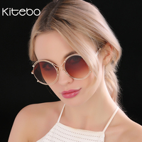 [Kitebo] Brand oversized round glasses fashion sun glasses metal frame sunglasses men women driving goggles high quality UV400